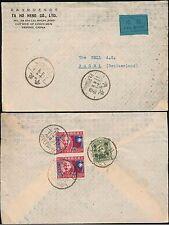 CHINA 1945 VICTORY PAIR PEIPING AIRMAIL to SWITZERLAND...TA HO HENG ENVELOPE