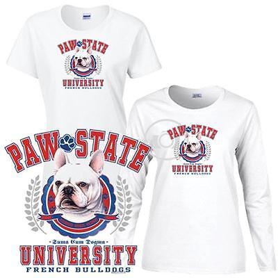 Long Sleeve White T Shirt Brussels Griffon Paw State University Ladies Short