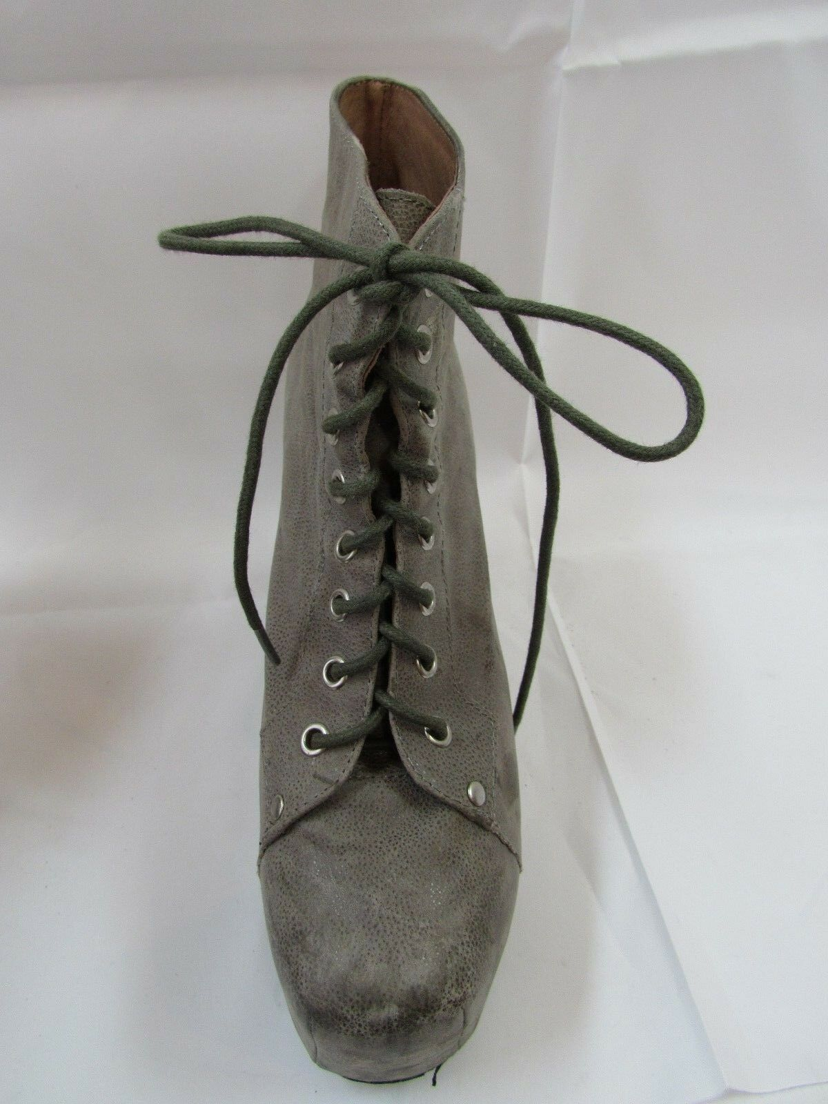 Jeffrey Campbell 8 Grey Leather Lace Up Boots Size 9 M