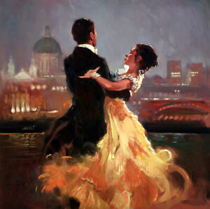 Beautiful couple dance Oil painting Giclee Art Printed on ...