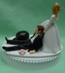 Details About Wedding Cake Topper Houston Astros Grooms Baseball Themed Bride Dragging Fun Top