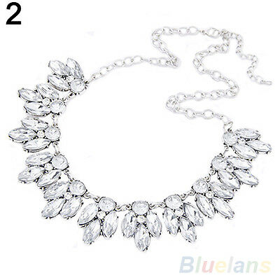 Magnificent Women Wheat Ears Charm Rhinestone Crystal Statement Pendant Necklace