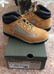 Timberland-Grade-School-Kid-039-s-Wheat-Leather-Suede-Field-Boots-Size-5-TB015945