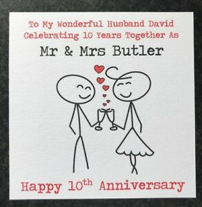 Image Is Loading Personalised Wedding Anniversary Card Husband Wife 1st 2nd
