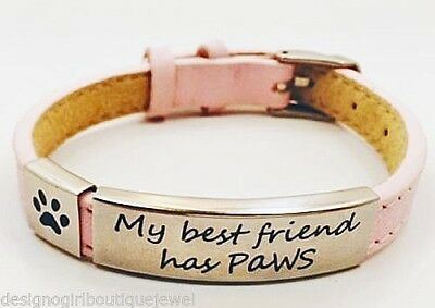 Pet Rescue Black Leather Bracelet Puppy Dog Cat Stainless Steel Paw Print Adopt