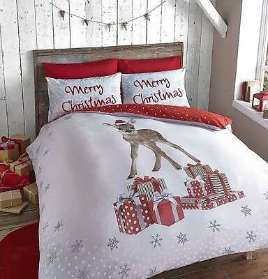 CATHERINE LANSFIELD NEW CHRISTMAS DEER REVERSIBLE BEDDING SET SINGLE DOUBLE