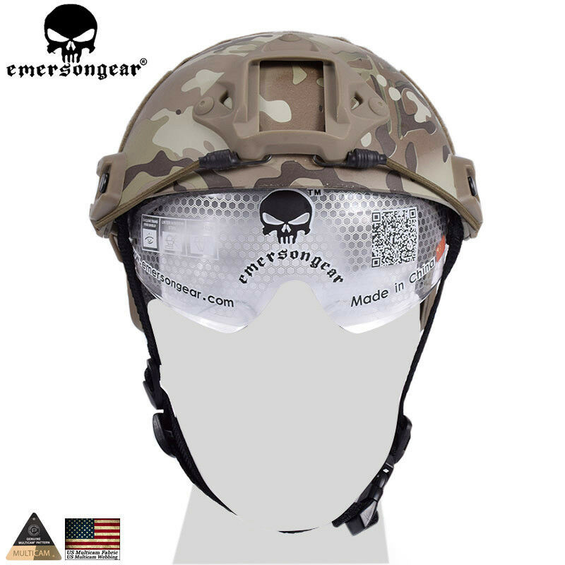 Tactical Helmet With Predective Goggle Glasses Combat Hunting CS Anti-fog Sports