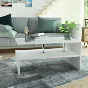 vidaXL-Coffee-Table-Chipboard-90x59x42cm-White-Living-Room-Side-Plant-Stand