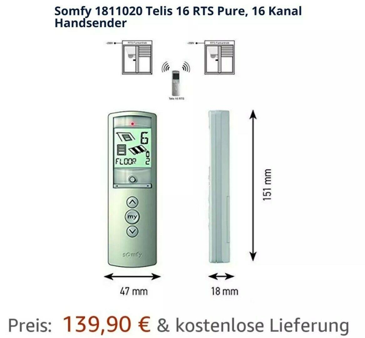 Somfy Telis 16 RTS Pure 16-Kanal Funk Handsender Rollladenmotor Fernbedienung