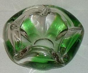 Green blown glass ashtray