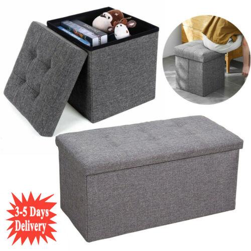 GREY LINEN FOLDING STORAGE OTTOMAN POUFFE SEAT FOOT STOOL HOME STORAGE BOX UK