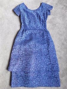 Details About Vintage 1950s Cornflower Blue Lace Tiered Dress Blanes Of London
