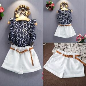 3PCS-Toddler-Kids-Baby-Girls-Summer-Outfit-Clothes-T-shirt-Tops-Shorts-Pants-Set