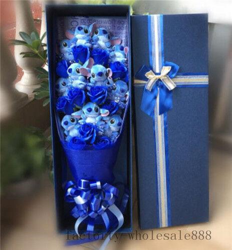 Nice Bunch of 11 Lilo Stitch Dolls Toys bluee flowers Birthday Creative Gift box