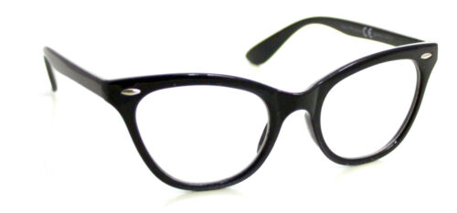 BLACK CAT EYE Frames CLEAR LENS Glasses Geek Nerd Vintage Retro Style #1167