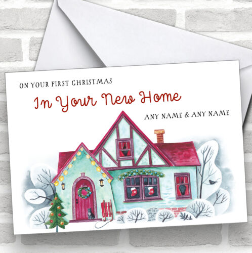 Green House First Christmas In New Home Personalised New Home Christmas Card