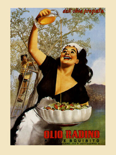 Olive Oil Food Salad Italy Lady Kitchen Vintage Poster Repo FREE S//H in USA
