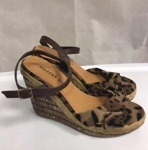 d30115e68d81 MADDEN GIRL Sz 8 Wedge Shoes Sandals Leopard Print Buckle CUTE !