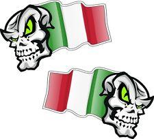 Handed Pair SKULL MASCOT Italy Italian il Tricolore Flag car biker sticker 50mm