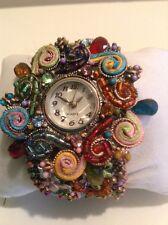 NEW Fashion Women Flower Crystal Cuff Bangle Bracelet Quartz Dress Wrist Watch