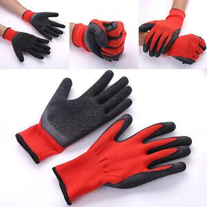 Rot-Schwarz-Sicherheits-Arbeitshandschuhe-Griff-Montagehandschuhe-Nylon-Lat-R7L6