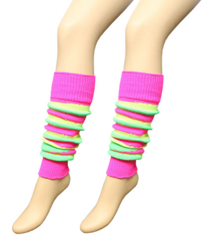 NEW LADIES 80/'S DANCE STRIPES LEG WARMER STRIPE LEG WARMERS TUTU FANCY DRESS