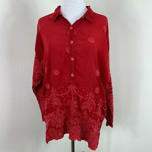 Johnny-Was-Antik-Lace-Embroidered-Blouse-Long-Sleeve-Boho-Tunic-Top-Shirt-Size-S