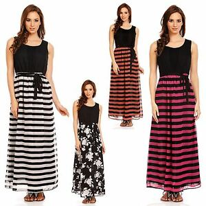 377f796b868 Womens Striped Floral Beach Evening Long Maxi Summer Day Dress Plus ...