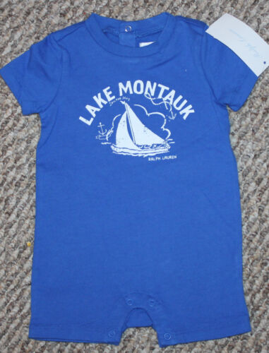 Boys Polo Ralph Lauren Outfit New 6 mo - Sz 3 Romper; Blue; Sail Boat; Macy/'s