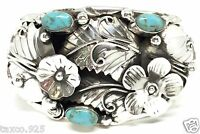 TAXCO MEXICAN VINTAGE STYLE 950 SILVER TURQUOISE FLORAL CUFF BRACELET MEXICO