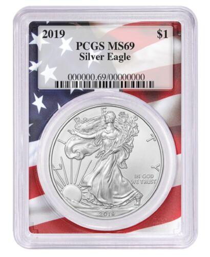 2019 1oz Silver Eagle PCGS MS69 Flag Frame