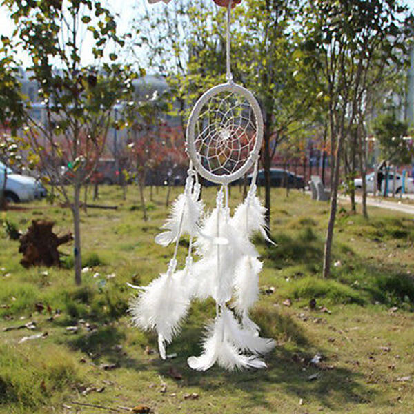 White Dream Catcher Circular Net With feathers Wall Hanging Decoration Ornament
