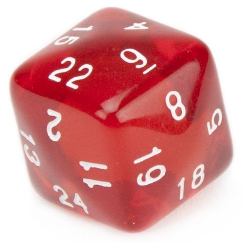 24 Sided Translucent Red with White Numbers Polyhedral Dice Game Play