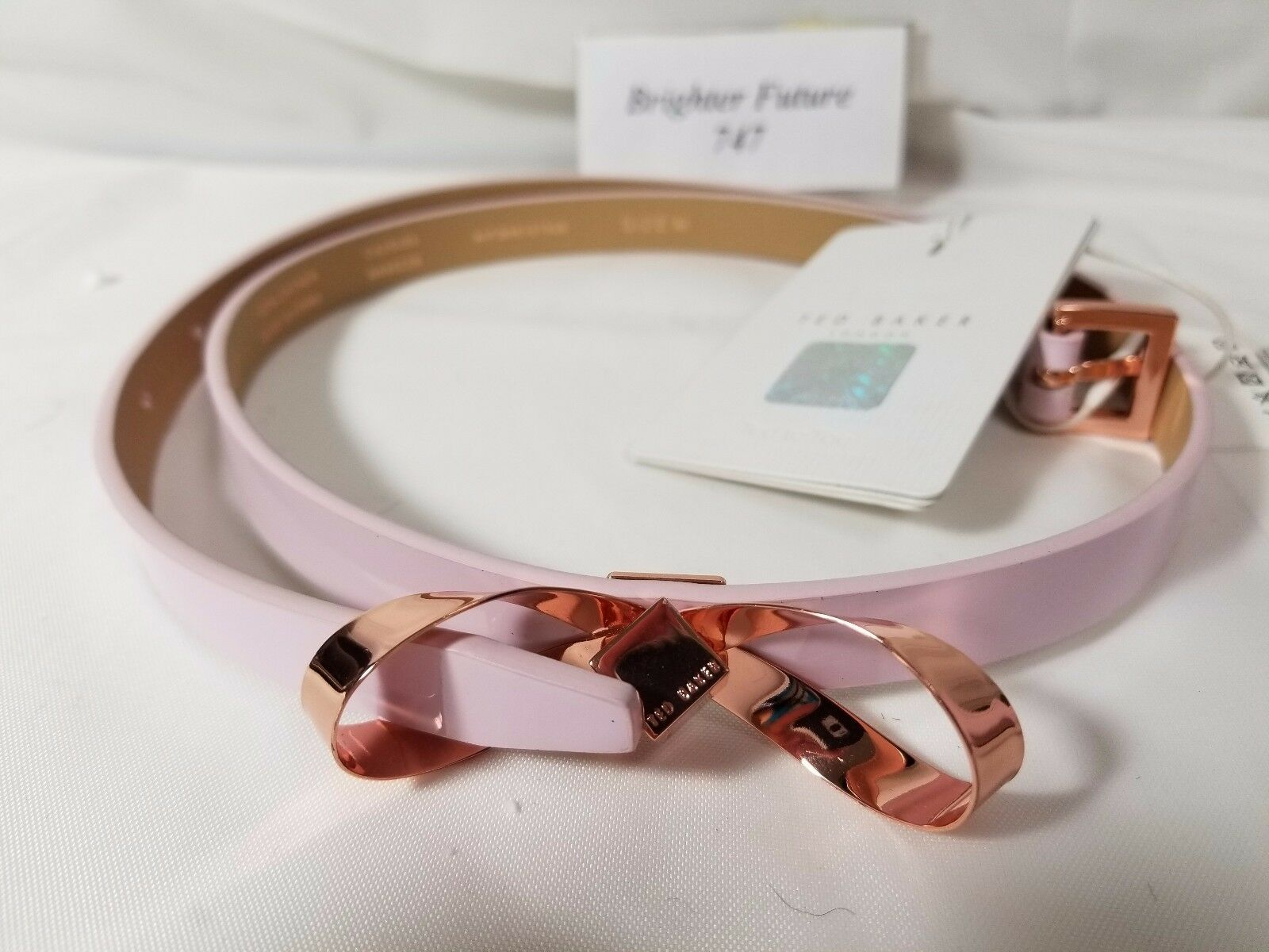f50c8368f BNWT TED BAKER Pale Pink Rose Gold Bow Front Bryano Leather Skinny Belt  size M