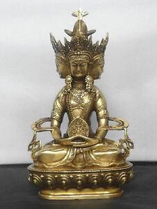 Tibet-Buddhist-Brass-statues-VAIROCANA-Herr-der-Mitte-buddha-statue