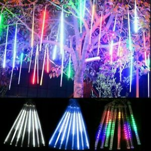 30//50CM LED Meteor Shower Lights 8 Tubes Falling Rain Icicle Xmas Party Outdoor