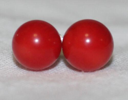 Solid Sterling Silver Genuine Natural Red Coral 10mm Stud Earrings Premium Backs