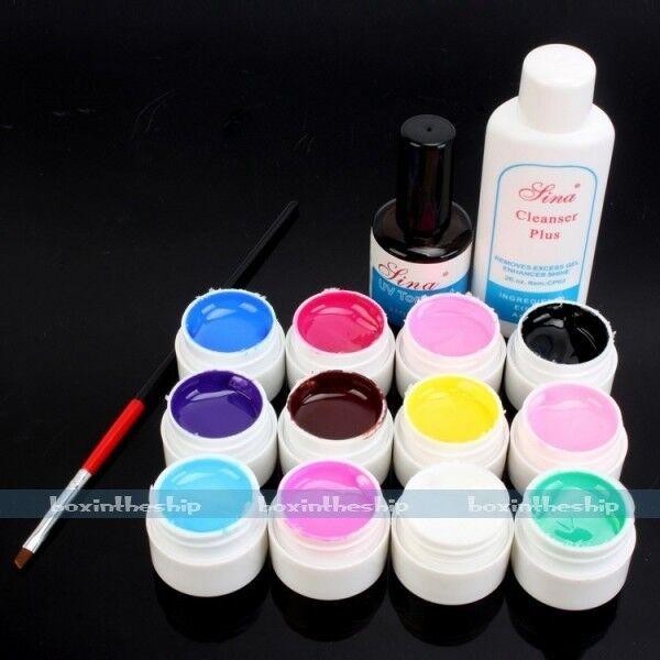 12 Color Pure Glitter Transparent UV Gel Brush Cleanser Plus Nail Art Kit set