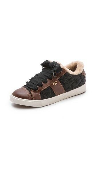 New Tory Burch Burch Burch Oliver Flannel Leather  Sneakers Charcoal Almond Women shoes 9.5 46d848