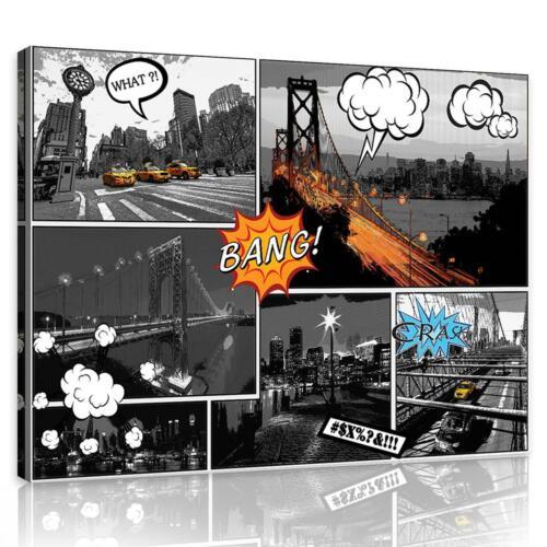 CANVAS Leinwand bilder XXL Comic-Städte Bild Wandbild F08054