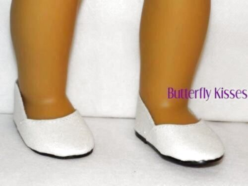 White Glitter Slip On Shoes 18 in Doll Clothes Fits 18 in American Girl