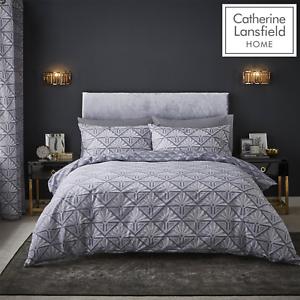 Catherine-Lansfield-Duvet-Set-Reversible-Art-Deco-Grey-Bedding-Pillows-Curtains