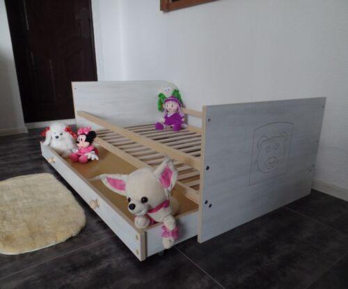 Babybett Gitterbett Kinderbett Set Komplet 70x140 UMBAUBAR Schublade weiß rosa