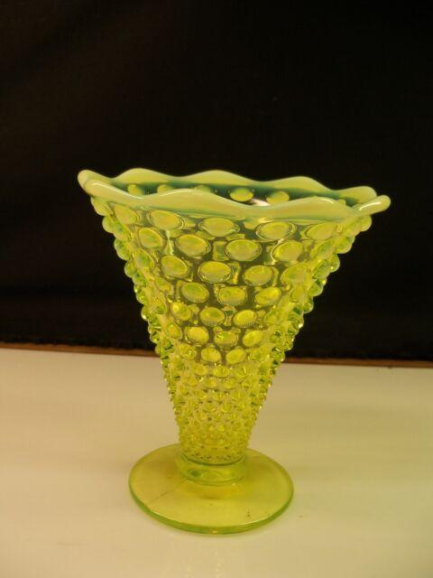 Fenton Topaz Opalescent Vaseline Glass Hobnail Cone Trumpet Vase