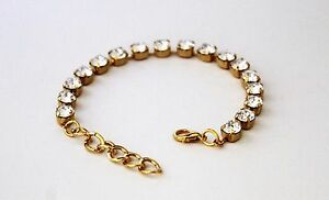 Gold-Plated-Clear-Crystal-Tennis-Bracelet-made-with-Swarovski-Crystal-Elements