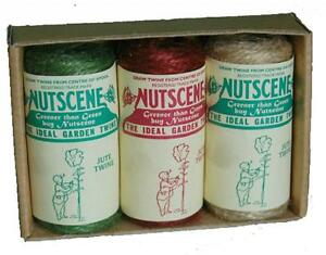 Nutscene 3 tiddler twines gift boxed mixed colours 13m jute coloured string