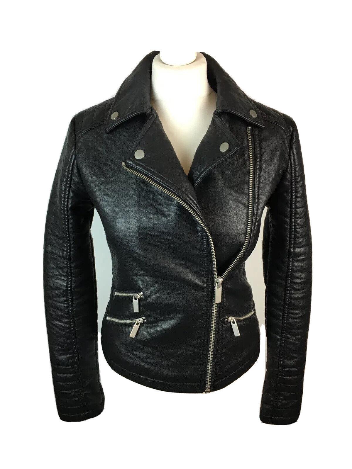 Asos Black Faux Leather Biker Jacket Size UK 8 Pockets Zips Moto