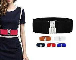 Mode Damen Mädchen Taille Gürtel Bund Breit 6cm Länge 60cm Stretch Elastisch