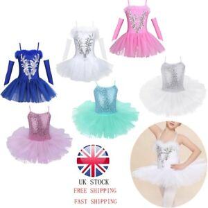 UK-Kids-Girls-Gymnastics-Leotard-Dress-Ballet-Dance-Tutu-Skirt-Dancewear-Costume