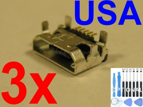 3x OEM Type Micro USB Charging Port Charger For Dell Venue 10 Pro 5055 5000 USA